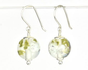Earrings in glass and sterling silver - Marble Green flower earrings - Gift for her - Made to Order
