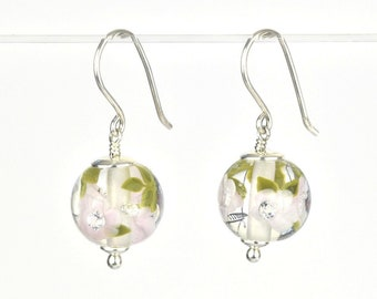 Earrings in glass and sterling silver - Magnolia flower earrings - Gift for her - Made to Order