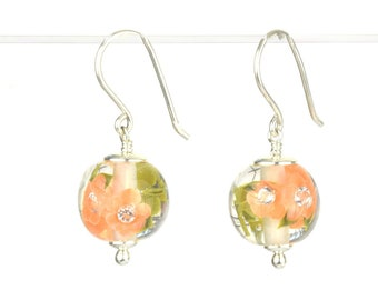 Earrings in glass and sterling silver - Apricot flower earrings - Gift for her - Made to Order
