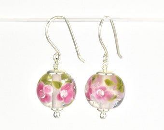 Earrings in glass and sterling silver - Fuchsia flower earrings - Gift for her - Made to Order