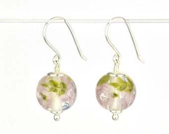 Earrings in glass and sterling silver - Lilac flower earrings - Gift for her - Made to Order