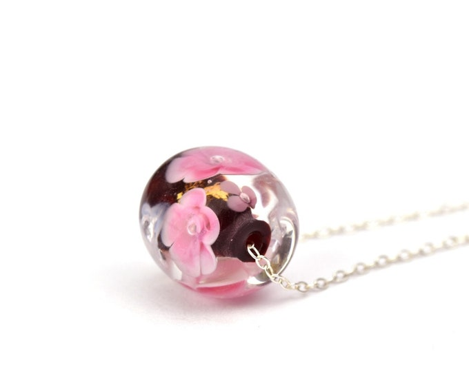Audrey - Long Necklace in glass and sterling silver 75cm - Floral jewelry - Pink roses