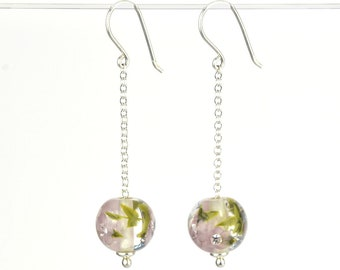 Long earrings in glass and sterling silver - Lilac flower earrings - Gift for her - Made to Order