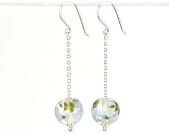 Long earrings in glass and sterling silver - Periwinkle flower earrings - Gift for her - Made to Order