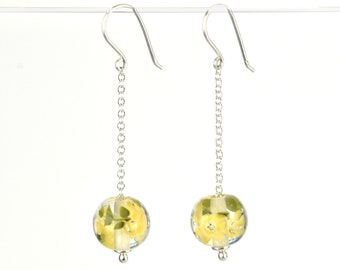 Long earrings in glass and sterling silver - Buttercup flower earrings - Gift for her - Made to Order