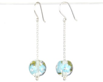Long earrings in glass and sterling silver - Sky Blue flower earrings - Gift for her - Made to Order