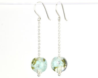 Long earrings in glass and sterling silver - Turquoise flower earrings - Gift for her - Made to Order