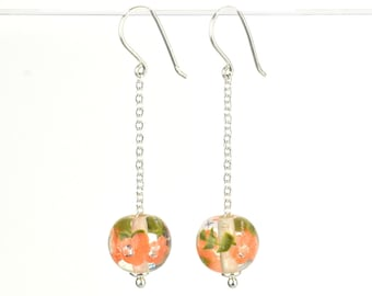 Long earrings in glass and sterling silver - Apricot flower earrings - Gift for her - Made to Order
