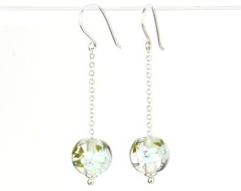 Long earrings in glass and sterling silver - Light Sky Blue flower earrings - Gift for her - Made to Order
