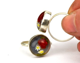 Petite Nolwenn - Ring in glass and sterling silver - Floral jewelry - Bright and dark red roses