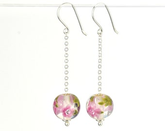 Long earrings in glass and sterling silver - Fuchsia flower earrings - Gift for her - Made to Order
