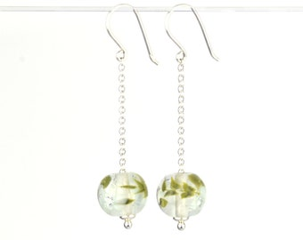 Long earrings in glass and sterling silver - Marble Green flower earrings - Gift for her - Made to Order