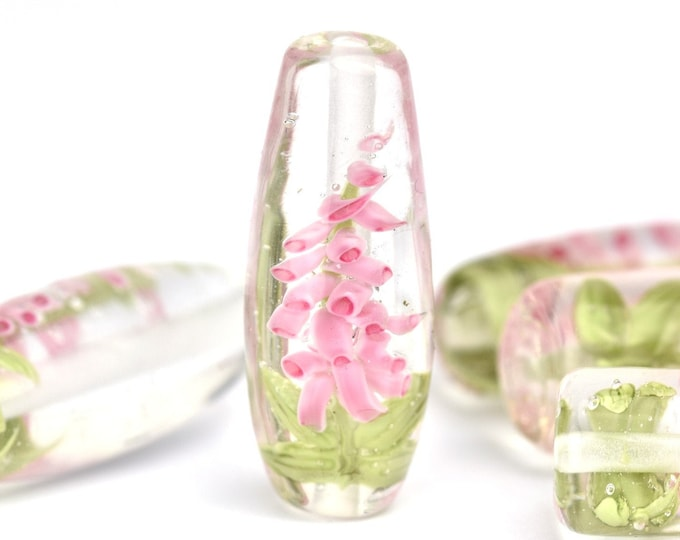 Lampwork Glass Beads - Oval Pink Foxglove bead 37mm - Tall Flowers Collection
