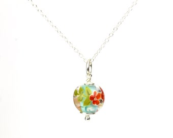 Necklace in glass and sterling silver - Turquoise and red necklace - Made to Order