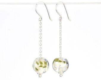 Long earrings in glass and sterling silver - Off white flower earrings - Gift for her - Made to Order