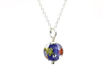 Necklace in glass and sterling silver - Cobalt and red necklace - Made to Order