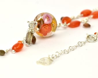 Long Statement Necklace in carnelian, glass and silver - Amber, pink and gold floral necklace - Orlena capsule, Autumn 2019 Collection