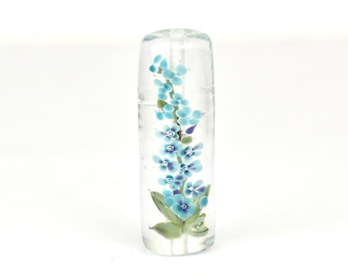 Lampwork Glass Beads - Blue Delphinium bead 46mm - Tall Flowers Collection