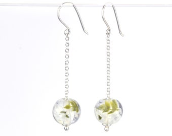 Long earrings in glass and sterling silver - White flower earrings - Made to Order