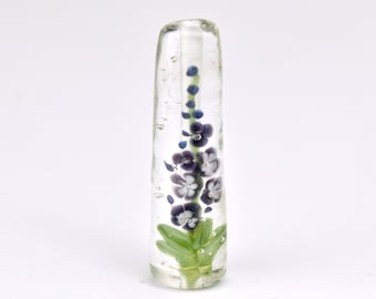 Lampwork Glass Beads - Petite Purple Delphinium bead 39mm - Tall Flowers Collection