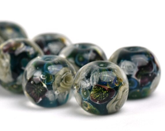 OOAK Lampwork Glass Beads - Ink blue, grey and black flowers bead 15mm - Black Helleborus Collection - One Of A Kind
