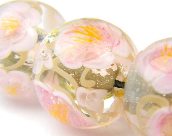 Lampwork Glass Beads - Pink and Grey flowers bead 15mm - Sakura Blossoms Collection