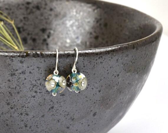 Art Glass Earrings - Art Glass Bead Sterling Silver Earrings - Black Helleborus Collection