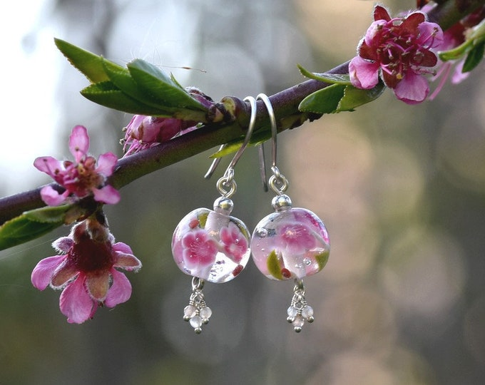Camille - Peach Blossom earrings - earrings in glass, peach moonstone and sterling silver - Floral jewelry - Gift for women