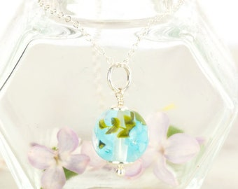 Pendant in glass and sterling silver - Sky blue flower necklace - Gift for her - Made to Order