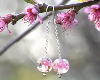 Camille - Peach Blossom earrings - long earrings in glass and sterling silver - Floral jewelry - Gift for women