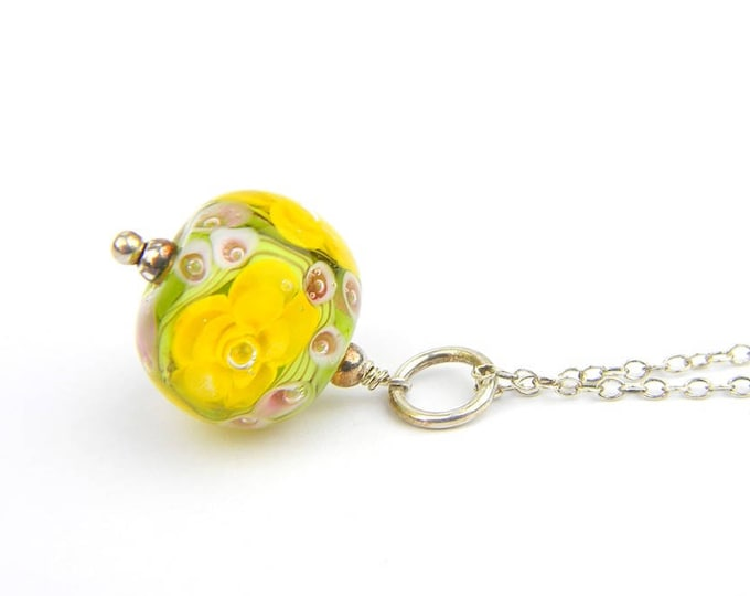 Art Glass Pendant - Medium Yellow Art Glass Bead Sterling Silver Pendant - Classic Collection