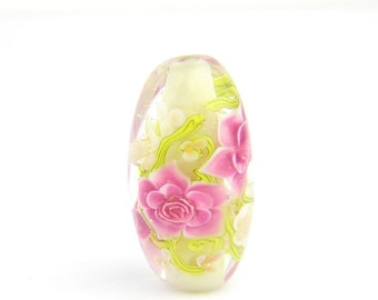 Lampwork Glass Beads - Daisies and Bright Pink Roses bead 31mm - High Garden Collection