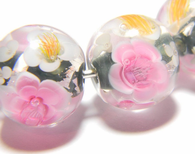 Lampwork Glass Beads - Silver leaf and pink flowers bead 15mm - Winter Spells Silver Collection