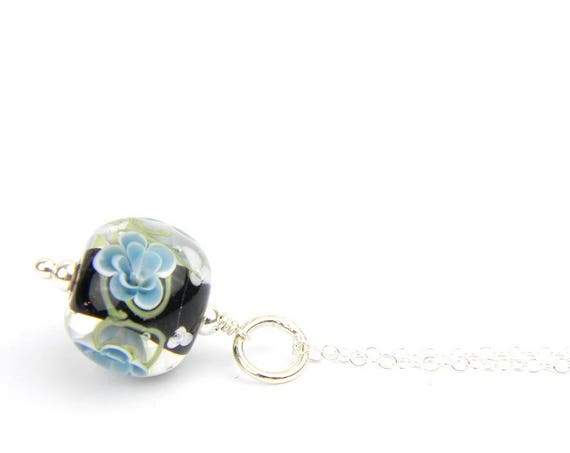 Art Glass Pendant - Medium Ink and Black Art Glass Bead Sterling Silver Pendant - Classic Collection