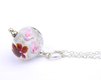 Art Glass Pendant - Medium Grey, Pink and Burgundy Art Glass Bead Sterling Silver Pendant - Classic Collection