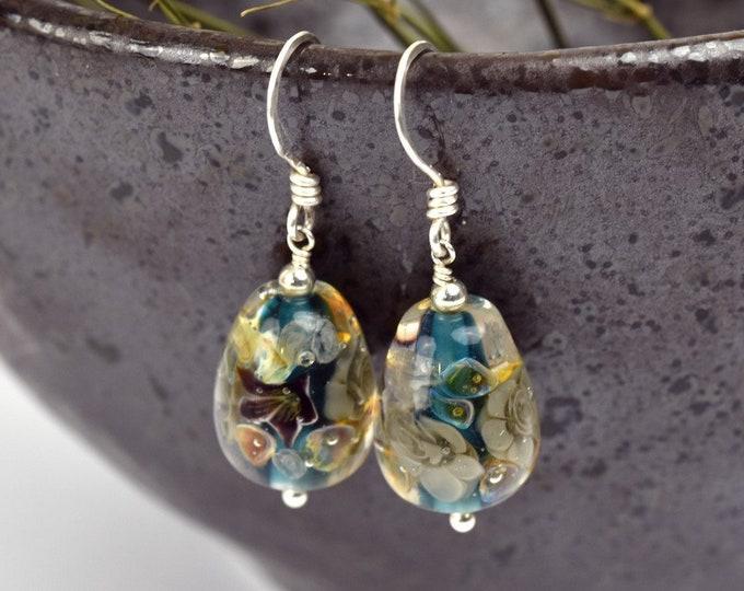 Art Glass Drop Earrings - Art Glass Bead Sterling Silver Earrings - Black Helleborus Collection