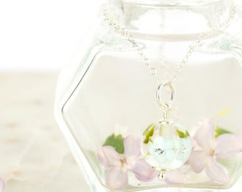 Pendant in glass and sterling silver - Light Sky blue flower necklace - Gift for her - Made to Order