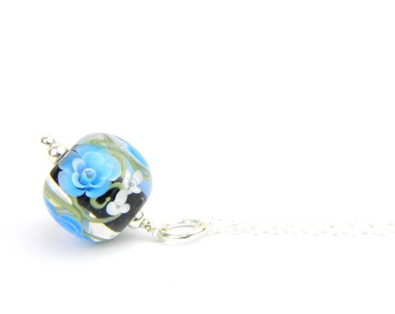 Art Glass Pendant - Medium Azure and Black Art Glass Bead Sterling Silver Pendant - Classic Collection