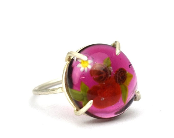 Garance - Ring in glass and sterling silver - Floral jewelry - Bright and dark red roses