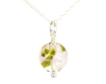 Pendant in glass and sterling silver - Magnolia flower necklace - Gift for her - Made to Order