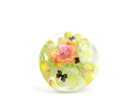 Art Glass Ring - Medium Peacock Garden Art Glass Bead Sterling Silver Ring - Classic Collection