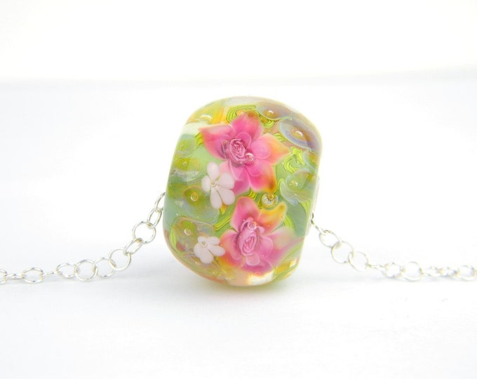 Lampwork Glass Beads - Opal green, white and light pink flowers large hole bead 26mm - Peacock Treasures Collection