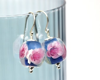 Elise - Earrings in glass and sterling silver - Floral jewelry - Gift for women - Pink roses