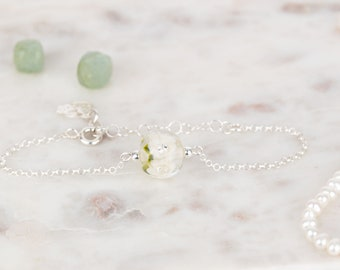 Bracelet in glass and sterling silver - Ivory flower bracelet - Made to Order