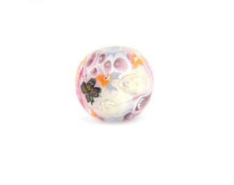 Lampwork Glass Beads - English garden flower bead 18mm - The Paradise Collection