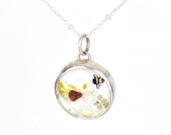 Solène necklace, in glass and sterling silver