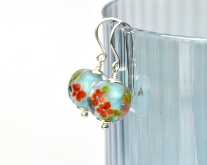 Earrings in glass and sterling silver - Turquoise and red earrings - Made to Order