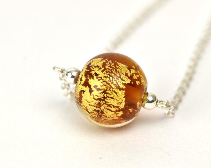 Bracelet with 24k Gold leaf and Medium Amber glass bead - Sterling Silver and Glass bracelet - Bracelet gift
