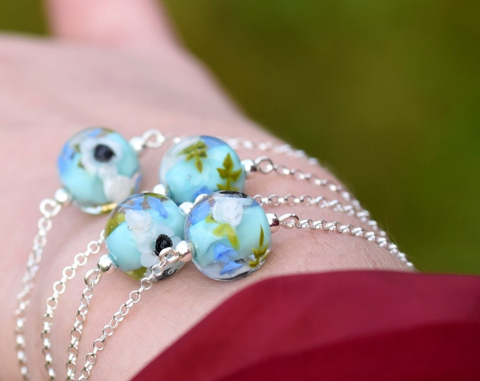 Chloe the Radiant - Glass and sterling silver bracelet - Anemones and Roses