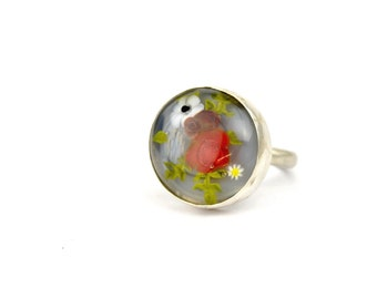 Nolwenn - Ring in glass and sterling silver - Floral jewelry - Bright and dark red roses